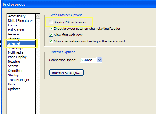 pdf display in browser